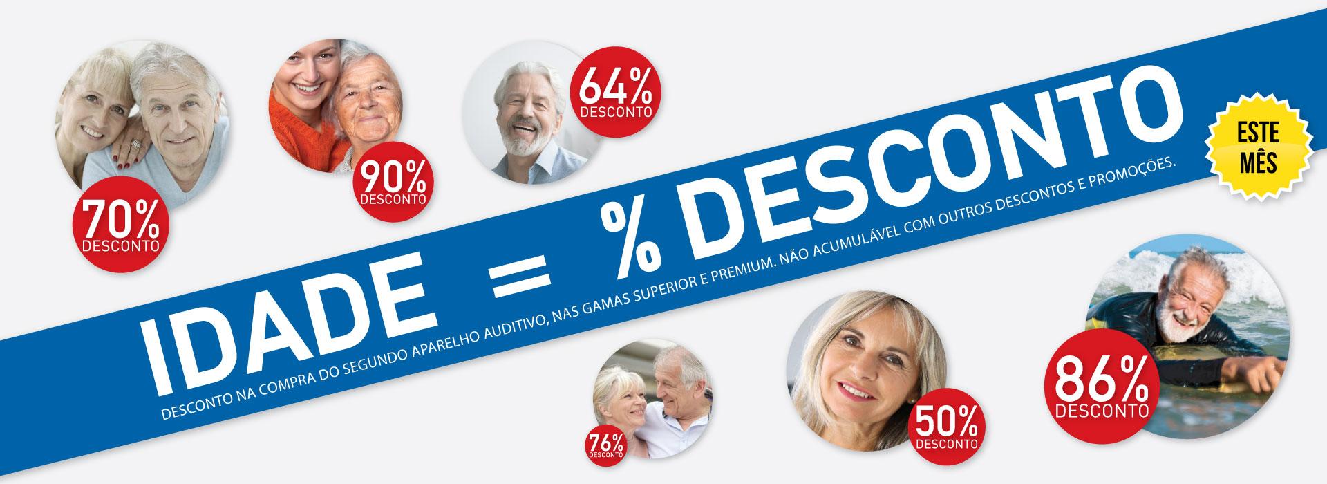 Idade = % Desconto