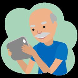 Illustration von einem älteren Herrn auf dem Smartphone