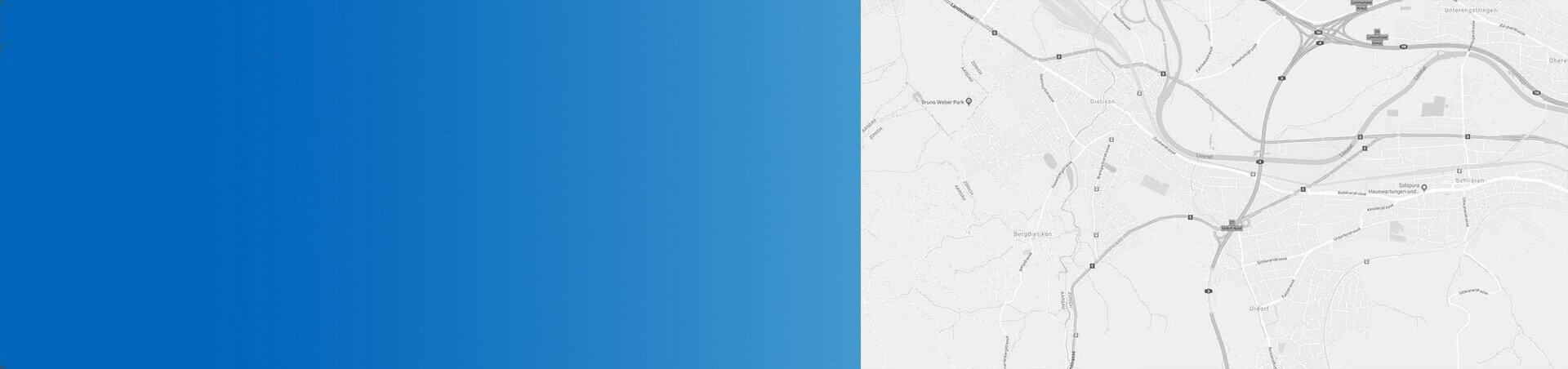 Strassenkarte in Schwarz-Weiss mit blauem Hintergrund