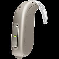 Vue rapprochée d'une aide auditive contour d'oreille classique de type BTE