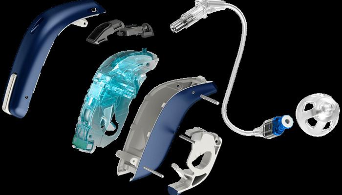 Olika delar av en hörapparat du placerar bakom örat. Se hur alla delar på en bakom-örat-hörapparat ser ut. Se vår korta förklaringsfilm om bakom-örat-hörapparater.