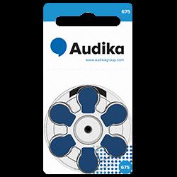 Batterier till hörapparater finns i storlek 675 och kan köpas hos Audika.