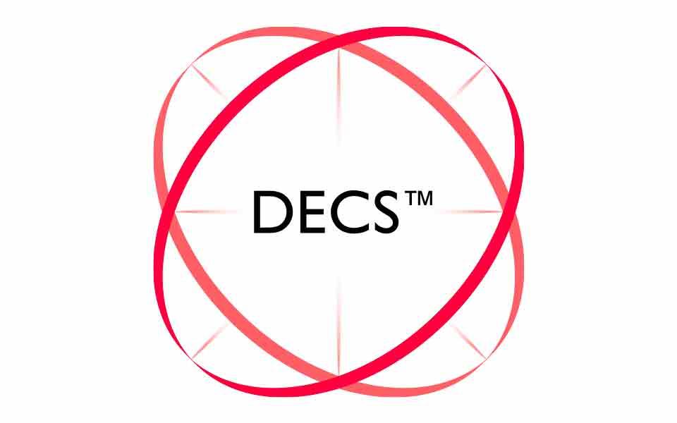 Logo of the Bernafon signature  technology: Dynamic Environment Control System, or DECS.