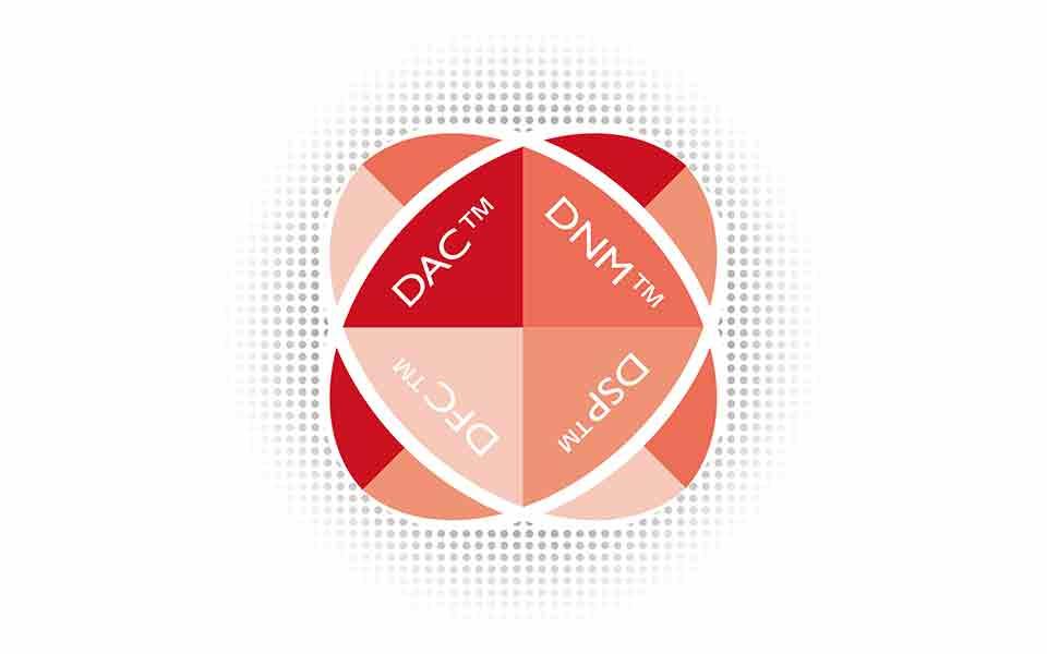 Un gráfico que muestra las cuatro características principales de la tecnología Bernafon DECS con la característica más reciente Dynamic Feedback Canceller.