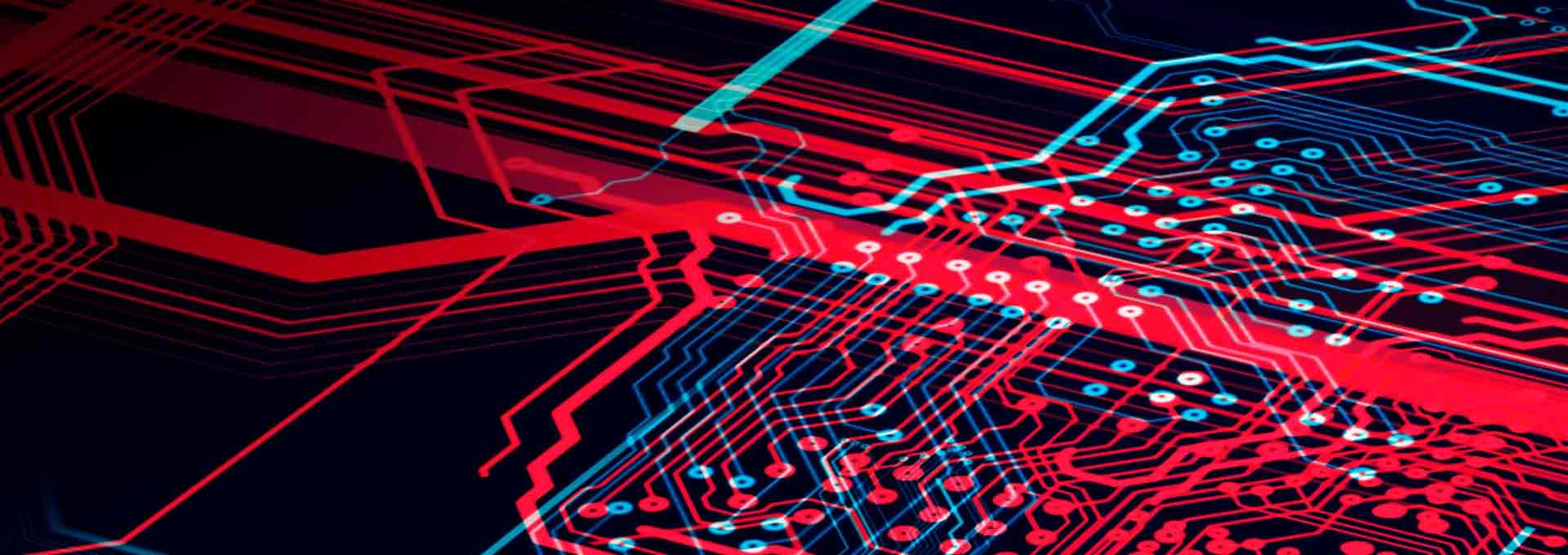 Bir Bernafon işitme cihazı yonga platformunun teknolojik bir görselleştirmesi olarak kullanılan çeşitli kırmızı çizgilerin gösterimi.