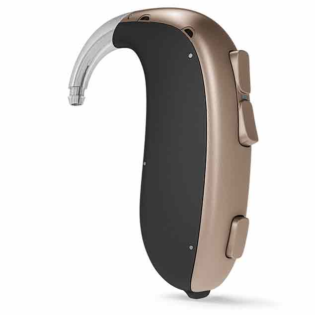 Bernafon Ultra Power behind-the-ear hearing aids featuring DECS technology for users with profound hearing losses.