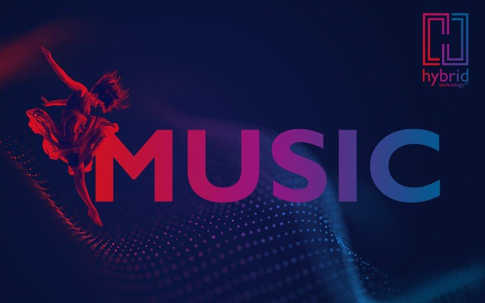 Red/blue image of woman dancing next to MUSIC block wordmark, Bernafon Alpha's Hybrid Technology logo and a sound wave