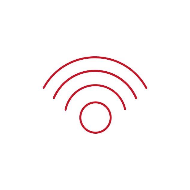 Rødt ikon, der illustrerer Bernafons trådløse konnektivitet