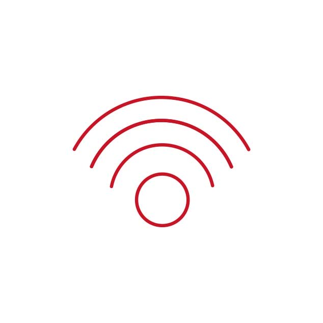 Rood Bernafon draadloos connectiviteitspictogram