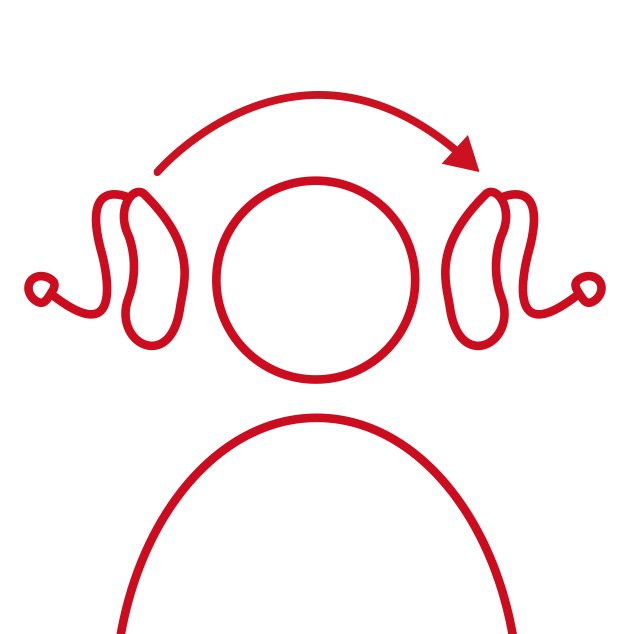 Red icon of head with wireless, rechargeable CROS/BiCROS transmitter and receiving hearing aid