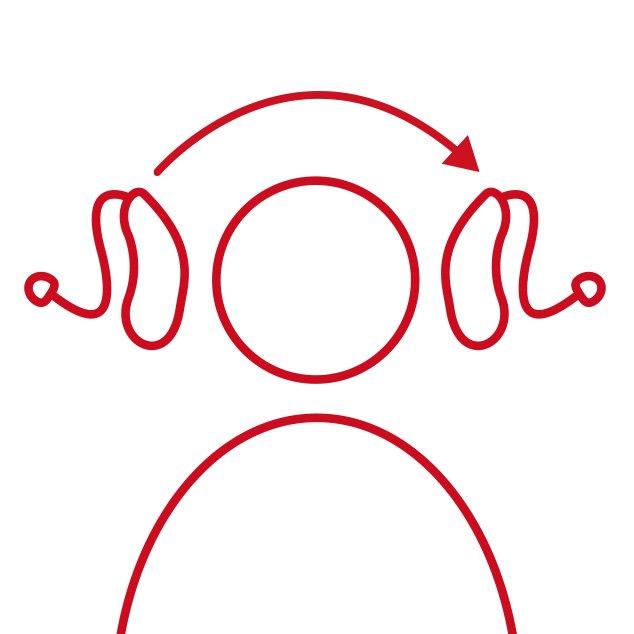 Rood pictogram van hoofd met draadloze, oplaadbare CROS/BiCROS zender en ontvangend hoortoestel