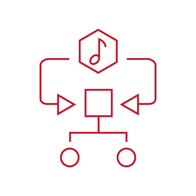 Red icon representing the music specific algorithm in the Bernafon Alpha hearing aids Music Experience program