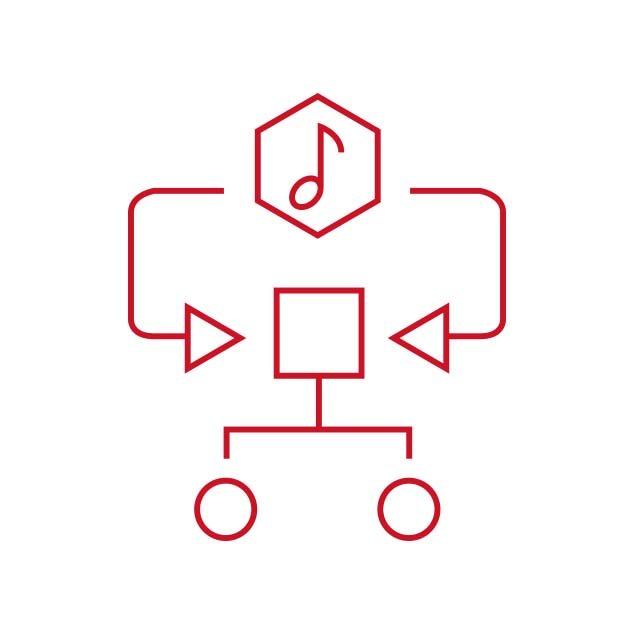 Icono rojo que representa el algoritmo específico de la música en el programa Music Experience de audífonos Bernafon Alpha
