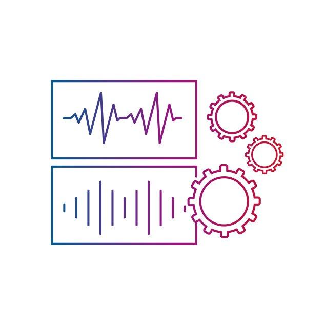Icône représentant le traitement hybride du son, l'une des quatre principales caractéristiques de la technologie hybride de Bernafon.