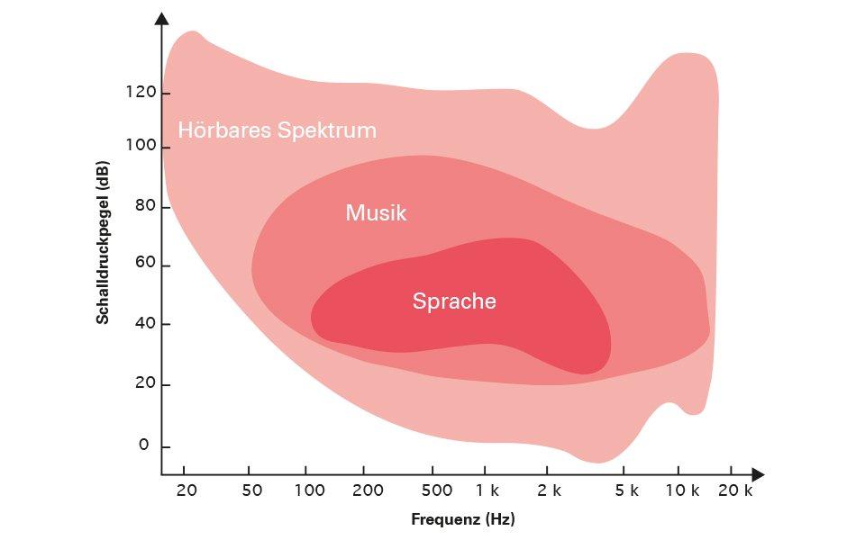 Grafische Illustration der verschiedenen Frequenzebereiche von Musik und Sprache.