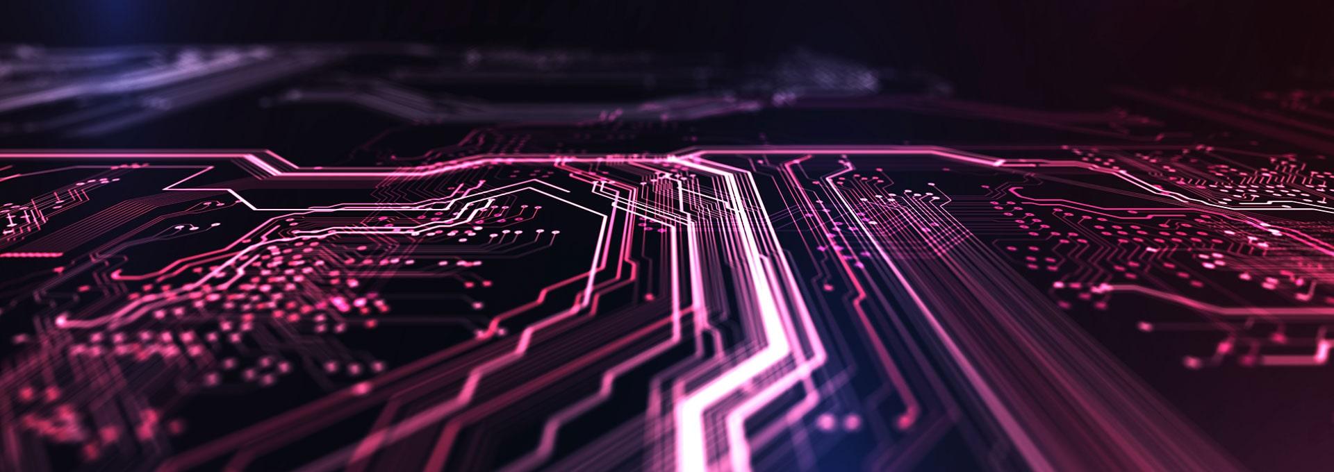 Tummanpunainen ja sininen teknologia- aiheinen tausta, jossa on elementtinä piirilevy, koodi ja vahva valkoinen viiva keskellä. 3D-kuva.