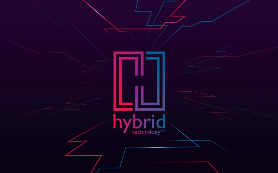 Logo Bernafon Hybrid Technology en rouge à gauche, bleu à droite, violet au milieu et lignes rouges et bleues autour