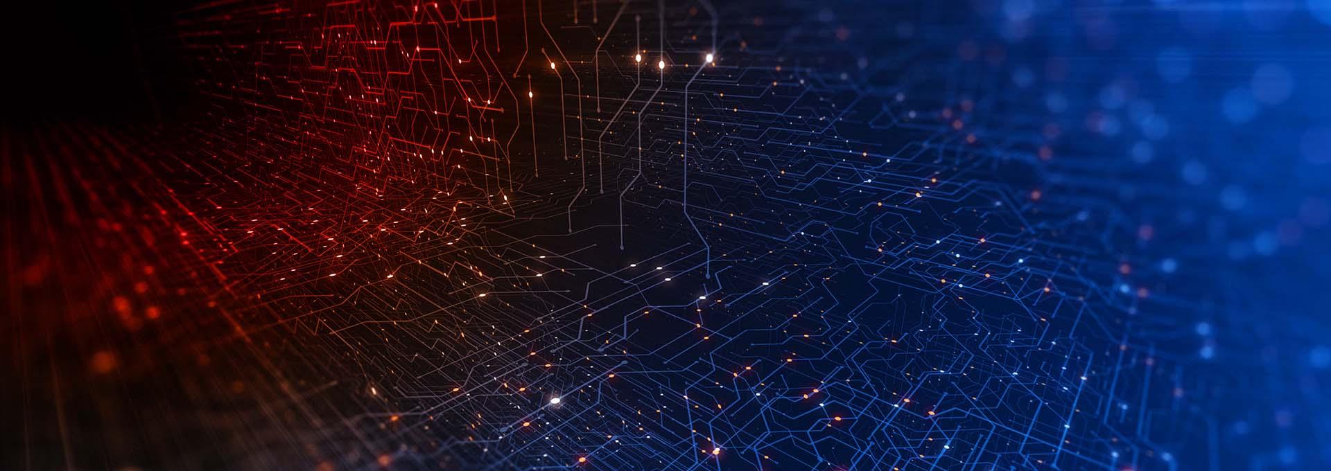 Et netværk af forbundne røde og blå prikker, som symboliserer den digitale verden i vores tilpasningssoftware Oasisnxt