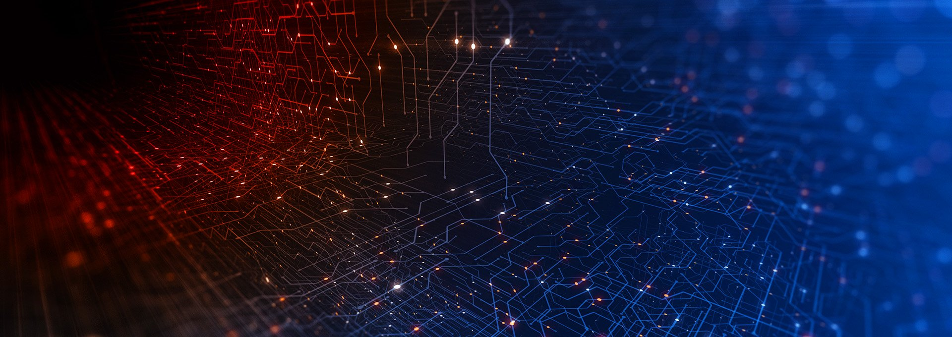 Ein aus Punkten verbundenes Netzwerk in rot und blau erleuchtet, das die digitale Welt unserer Oasis Next Anpasssoftware darstellt.