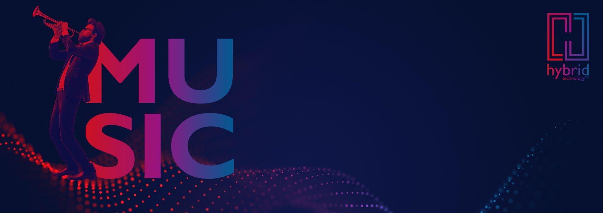 Röd/blå bild av kvinna som dansar bredvid MUSIC block wordmark, Bernafon Alpha's Hybrid Technology -logotyp och en ljudvåg