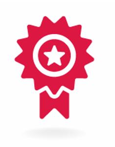 Icono rojo de un premio que representa la competencia tecnológica de Bernafon