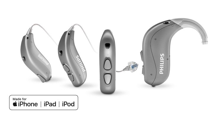 Overview of all Philips HearLink behind-the-ear hearing aids which are made for iPhone hearing aids