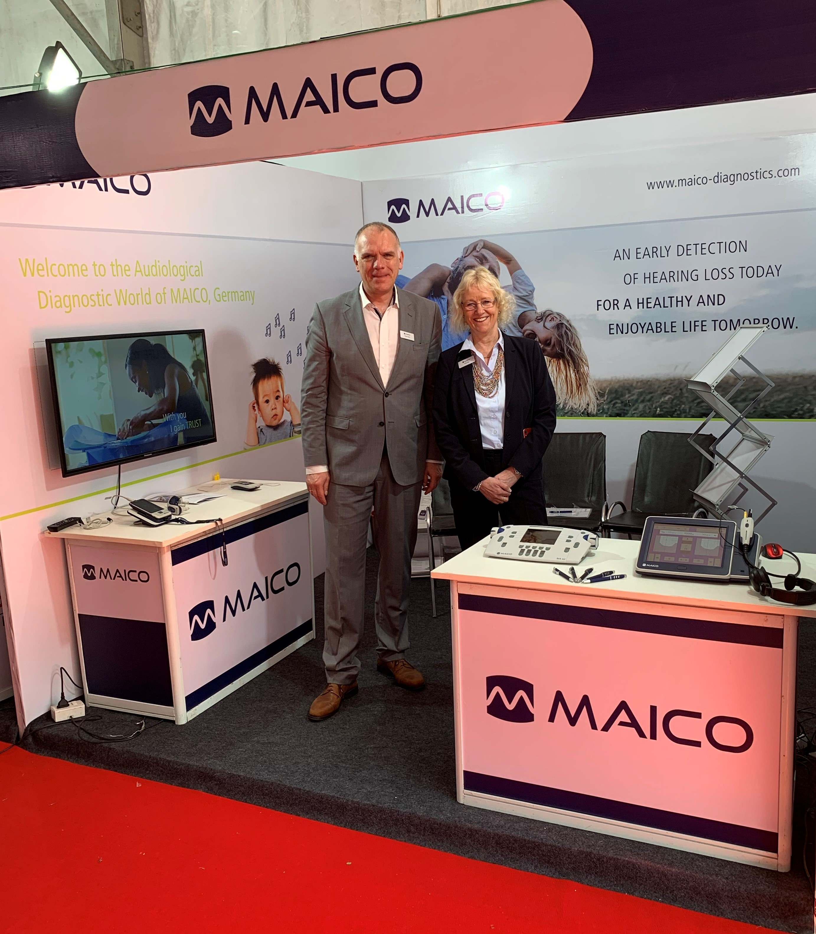 Welcome to the MAICO booth: Our team was waiting with MAICO audiometers and tympanometers