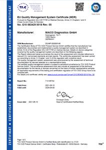MDR Certificate TÜV SÜD MAICO