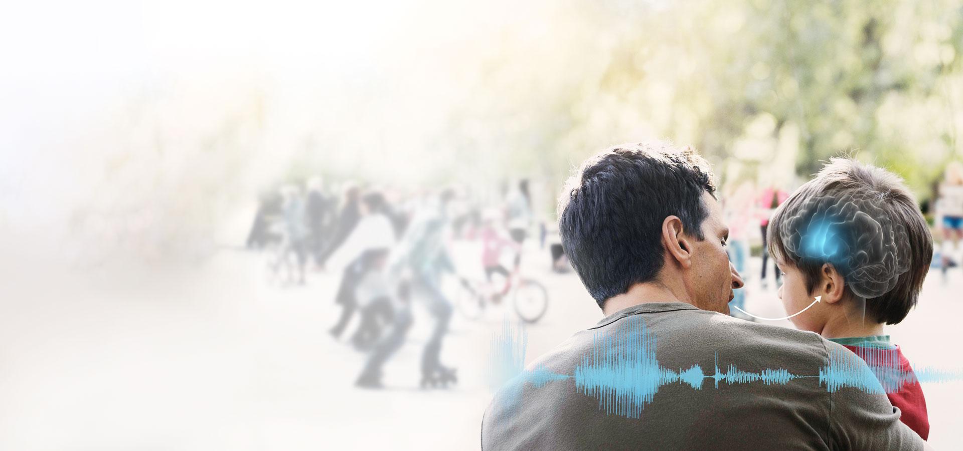 père et son fils en sortie au parc avec ondes bleues