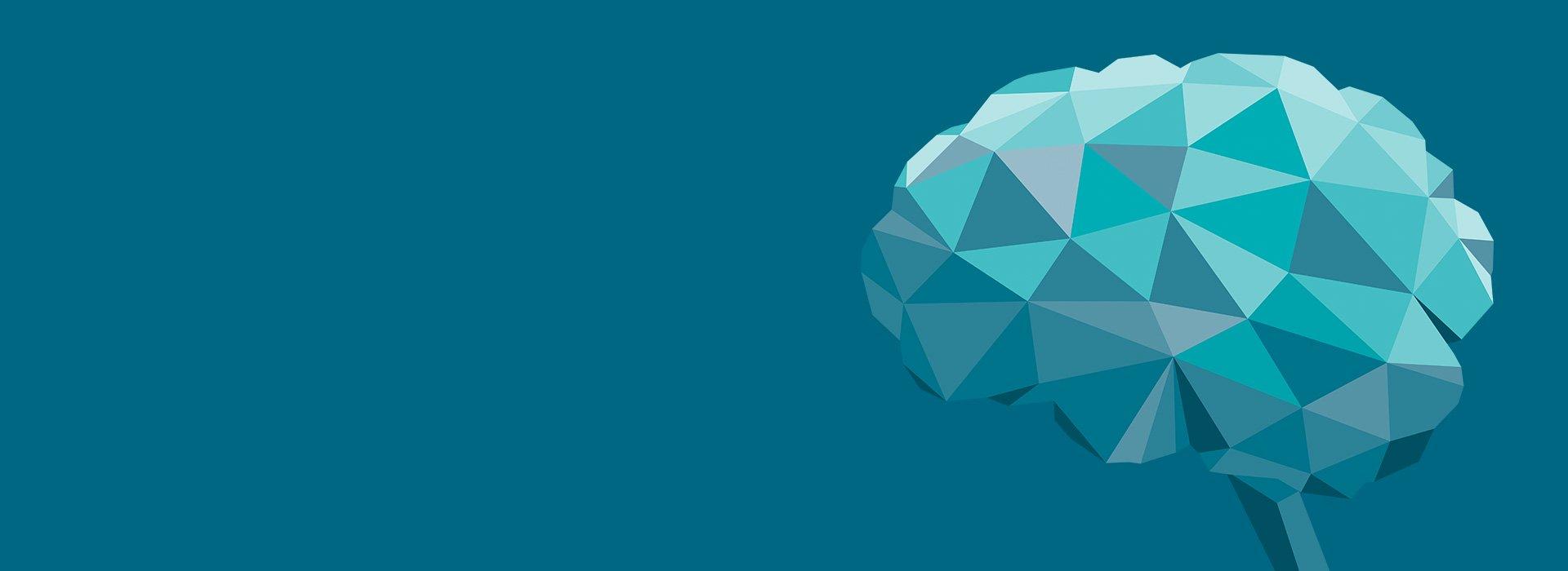 illustration cerveau bleu géométrique