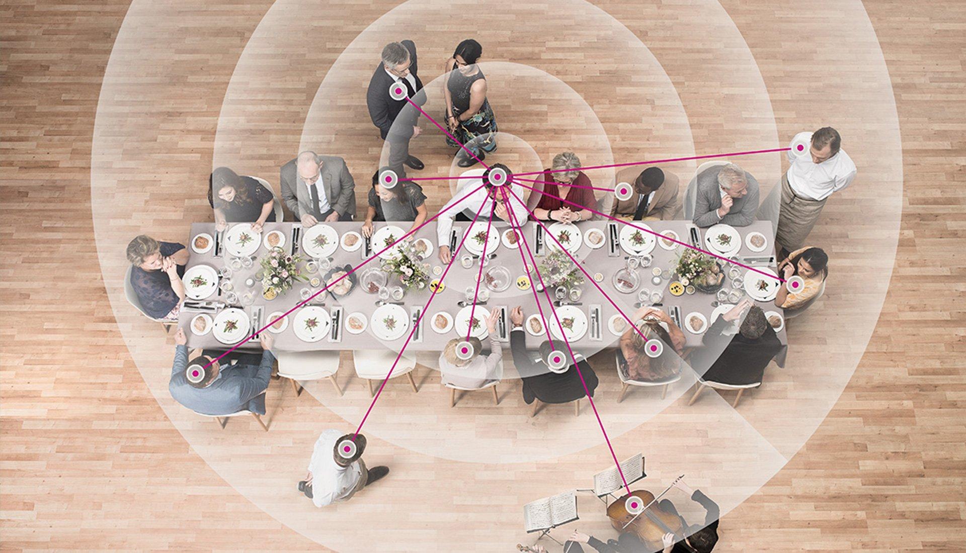 table de convive avec halo circulant
