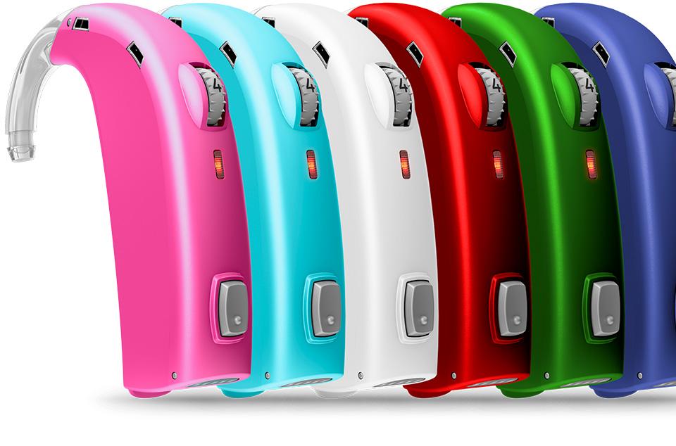 plusieurs couleurs appareil auditif Oticon Sensei pour enfants