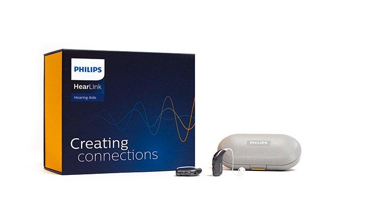 Philips HearLink Hörgeräte Verpackung.