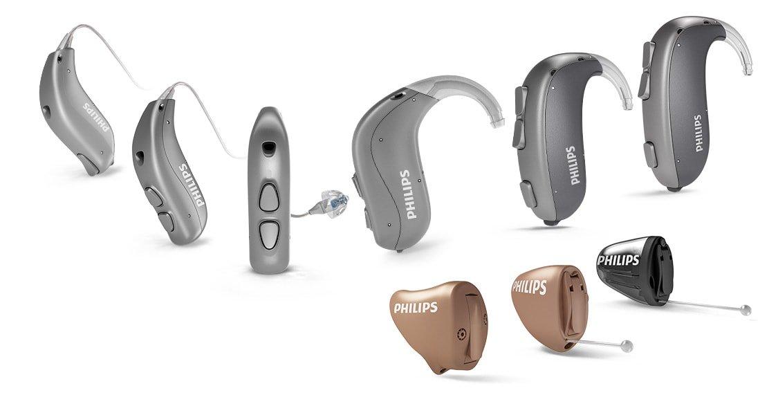 Visão geral de todos os aparelhos auditivos Philips HearLink atrás da orelha e dentro do ouvido.
