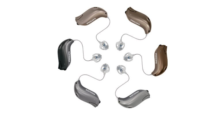 Philips HearLink behind-the-ear hearing aid with a reciever in the ear (RITE).