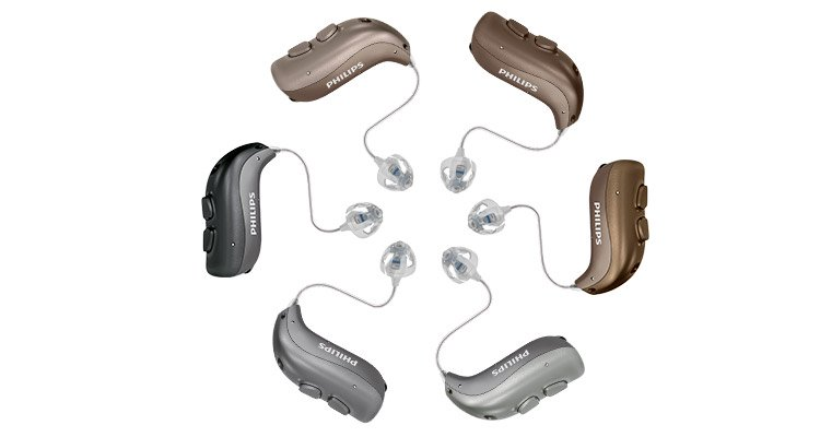 Philips HearLink rechargeable hearing aids MiniRITE T for mild to severe hearing loss.