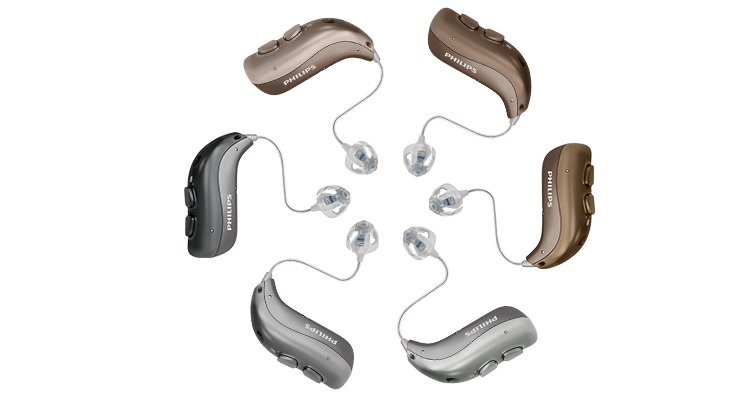 Philips HearLink rechargeable hearing aids MiniRITE TR for mild to severe hearing loss.