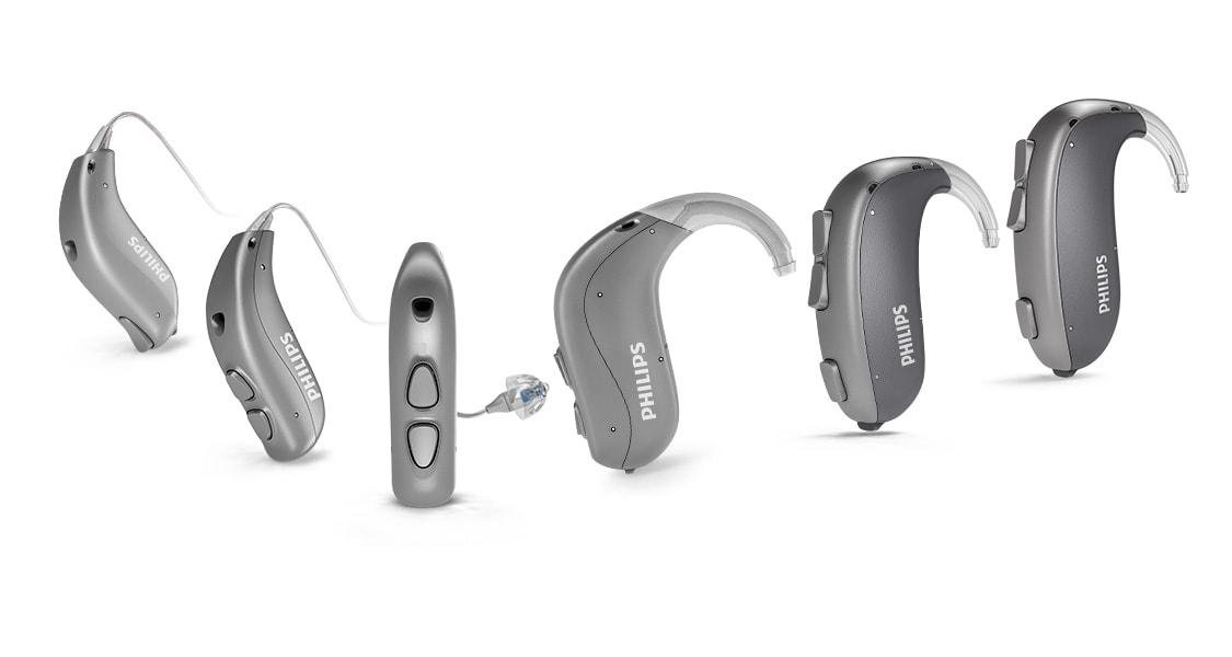 Descripción general de todos los aparatos auditivos Philips HearLink detrás de la oreja.