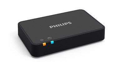 L'adaptateur télévision Philips. Il permet de diffuser le son de la télévision directement dans vos aides auditives.