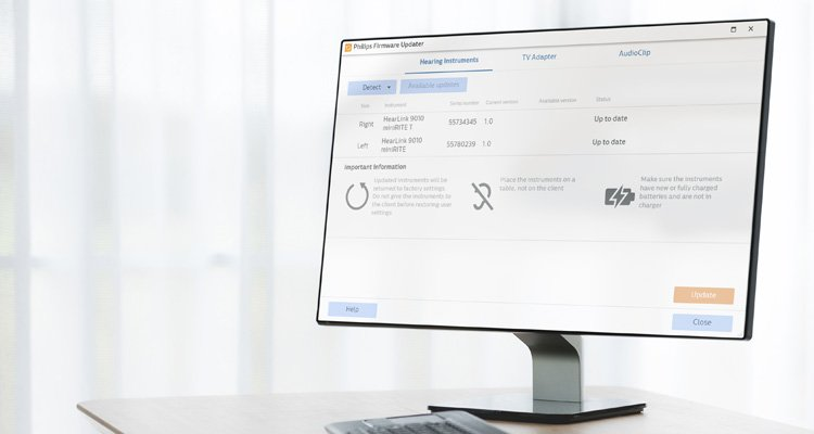 Capture d'écran Philips HearSuite pour professionnels avec le firmware de mise à jour Philips. Logiciel de réglage des aides auditives Philips HearLink.