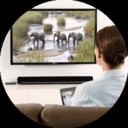 Femme assise devant la télé en train de regarder un documentaire