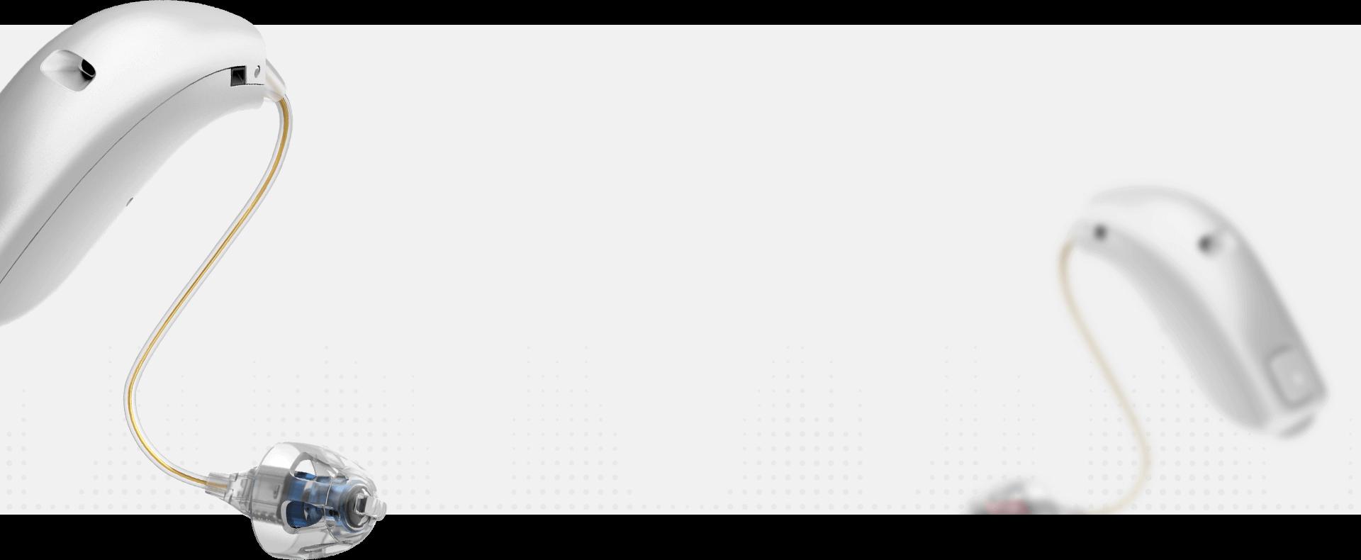 deux appareils auditifs Oticon Opn en blanc