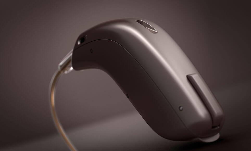 Image d'une aide auditive Oticon Opn en brun