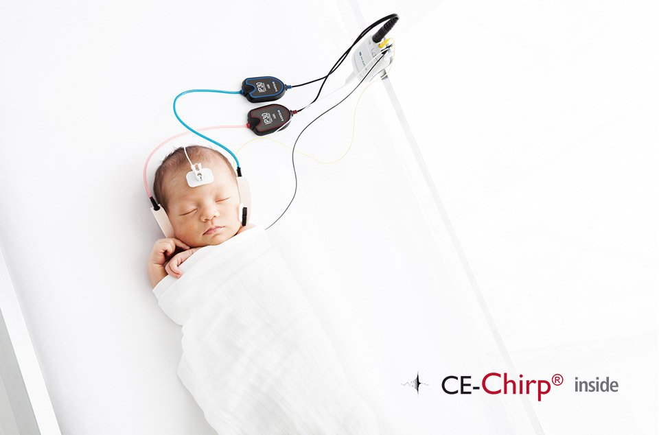 Sleeping Baby with test electrodes attached to skin