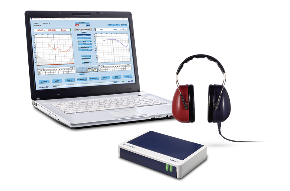 PC Audiometer MA 33 connected to laptop and headphones