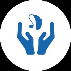 Manutenzione e cura simbolo blu su bianco