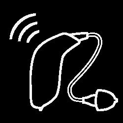 Apparecchio acustico con icona di connessione a Internet