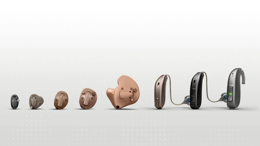 Tutti gli apparecchi acustici Oticon Opn Opn in una fila