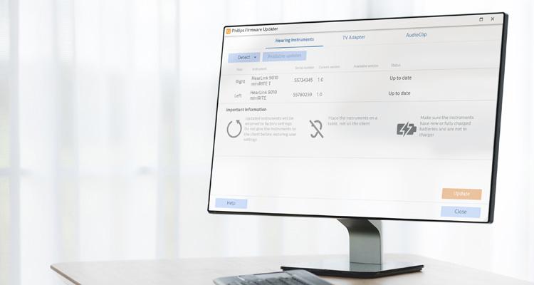 전문가용 필립스 히어스위트(HearSuite) 스크린샷으로 필립스 펌웨어 업데이터를 보여줍니다. 필립스 히어링크(HearLink) 보청기룰 위한 피팅 소프트웨어.