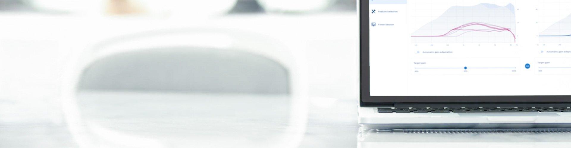 전문가를 위한 필립스 히어스위트(HearSuite) 스크린샷. 필립스 히어링크(HearLink) 보청기를 위한 피팅 소프트웨어.